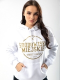"Bluza z kapturem ""Theme"" - White/Gold - Damska"